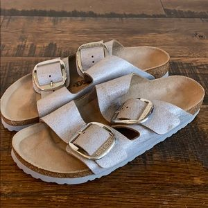J.Crew x Birkenstock big buckle Arizona sandals